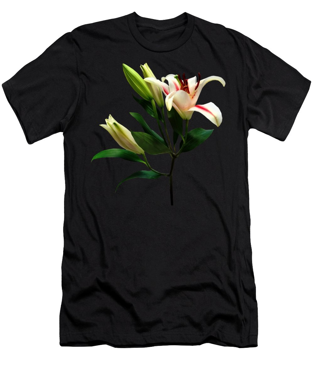 Lily Men's T-Shirt (Athletic Fit) featuring the photograph Elegant Lily And Buds by Susan Savad