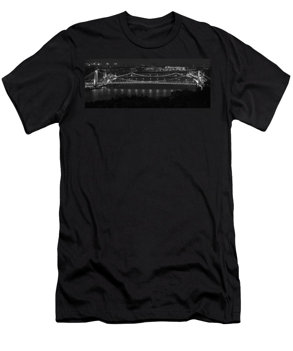 Joan Carroll Men's T-Shirt (Athletic Fit) featuring the photograph Elizabeth And Liberty Bridges Budapest Bw by Joan Carroll