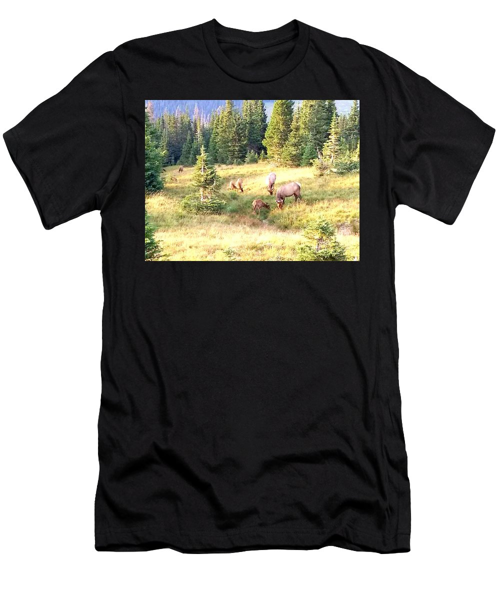 Blue Men's T-Shirt (Athletic Fit) featuring the photograph Elk Haven IIi by Lesli Sherwin