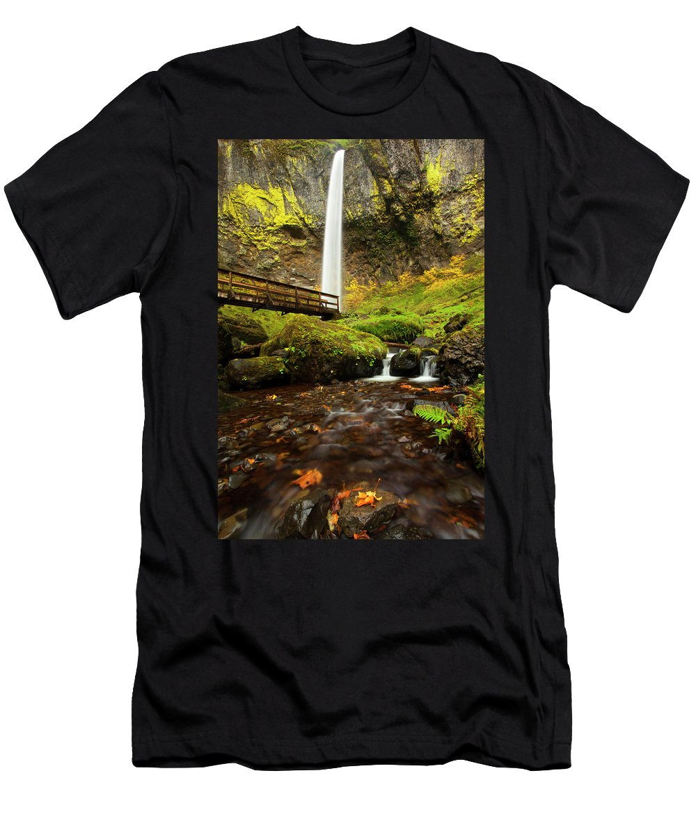 Elowah Falls Men's T-Shirt (Athletic Fit) featuring the photograph Elowah Perspective by Mike Dawson