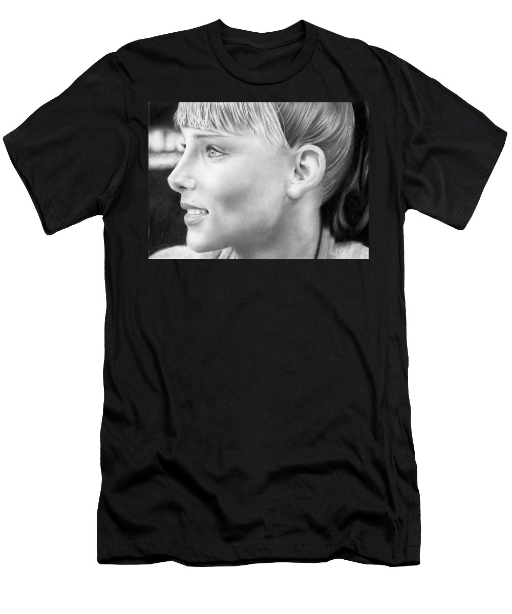 Portrait Men's T-Shirt (Athletic Fit) featuring the drawing Elsa Pataky by Carl Moore
