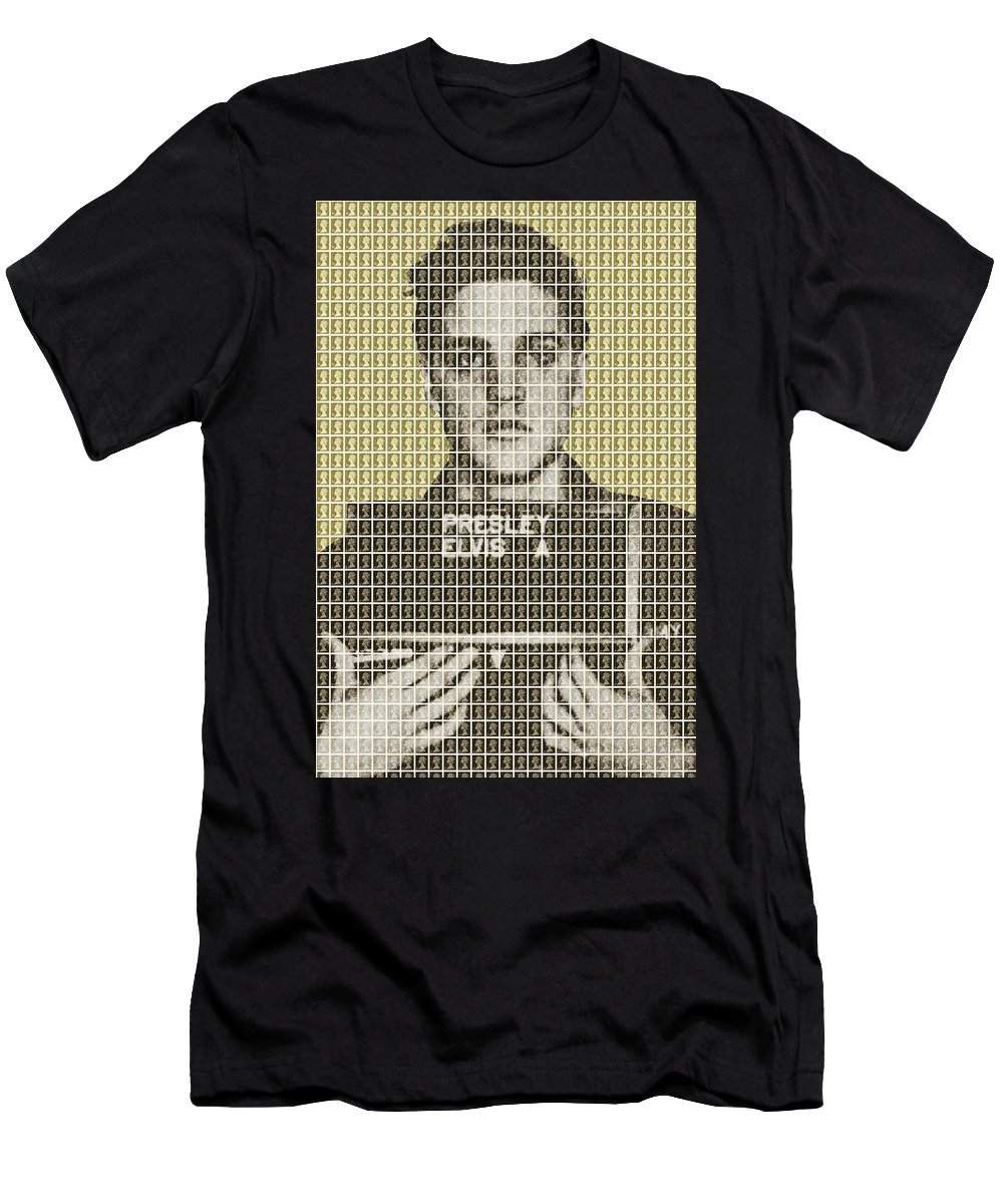Elvis Men's T-Shirt (Athletic Fit) featuring the painting Elvis Army Mug Shot - Gold by Gary Hogben