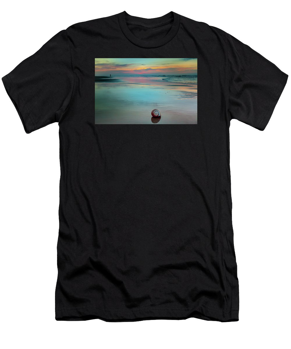 Beaches Men's T-Shirt (Athletic Fit) featuring the photograph Embrace Of Watercolor by Karen Wiles