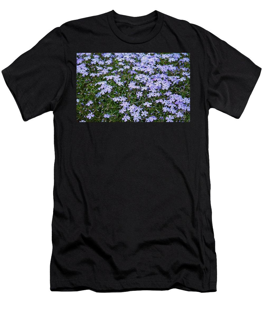 Flowers Men's T-Shirt (Athletic Fit) featuring the photograph Emerald Blue Creeping Phlox by Dan De Ment
