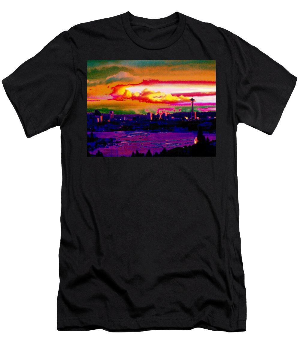 Seattle Men's T-Shirt (Athletic Fit) featuring the photograph Emerald City Sunset by Tim Allen