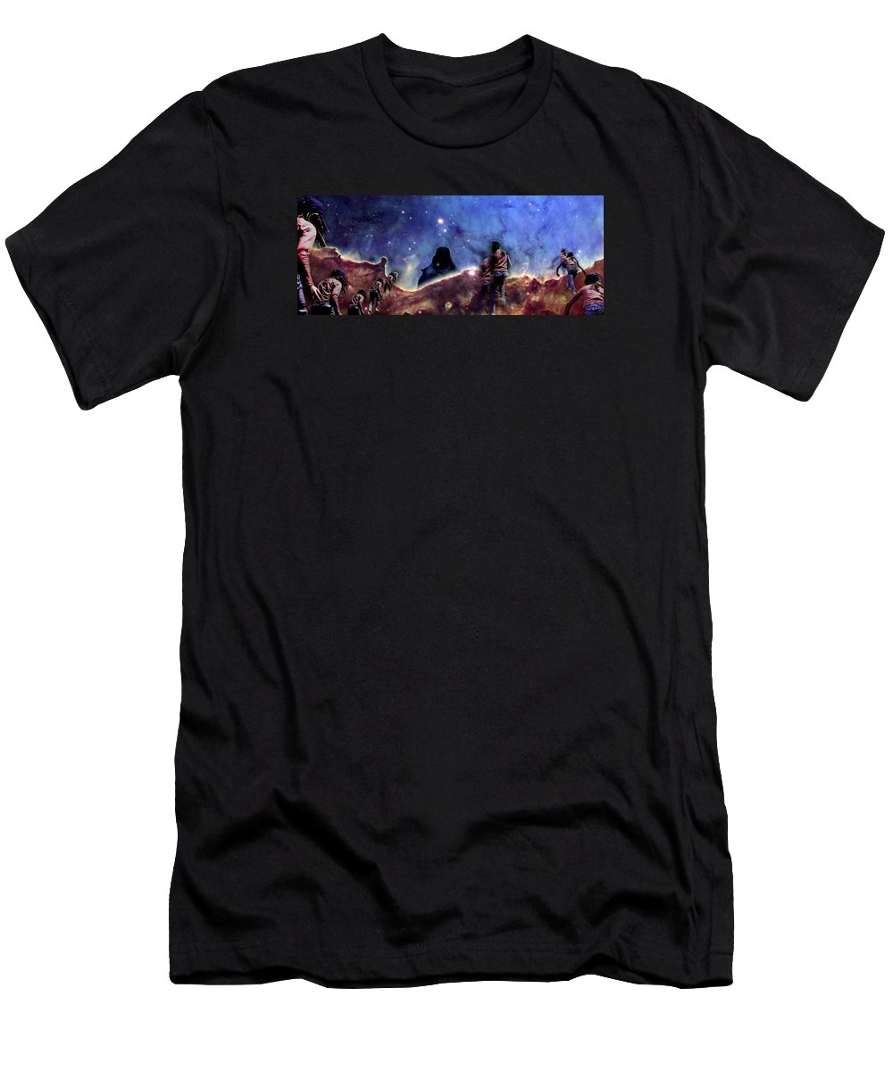 Nebula Men's T-Shirt (Athletic Fit) featuring the photograph Emily's Ridge Walk by Dave Martsolf