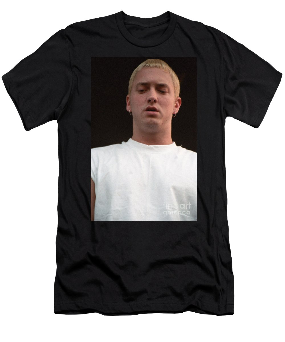 Eminem Warped New York Nyc Randall's Island Concert Live Photography Bloomrosen Music Photos Art Men's T-Shirt (Athletic Fit) featuring the photograph Eminem by J Bloomrosen