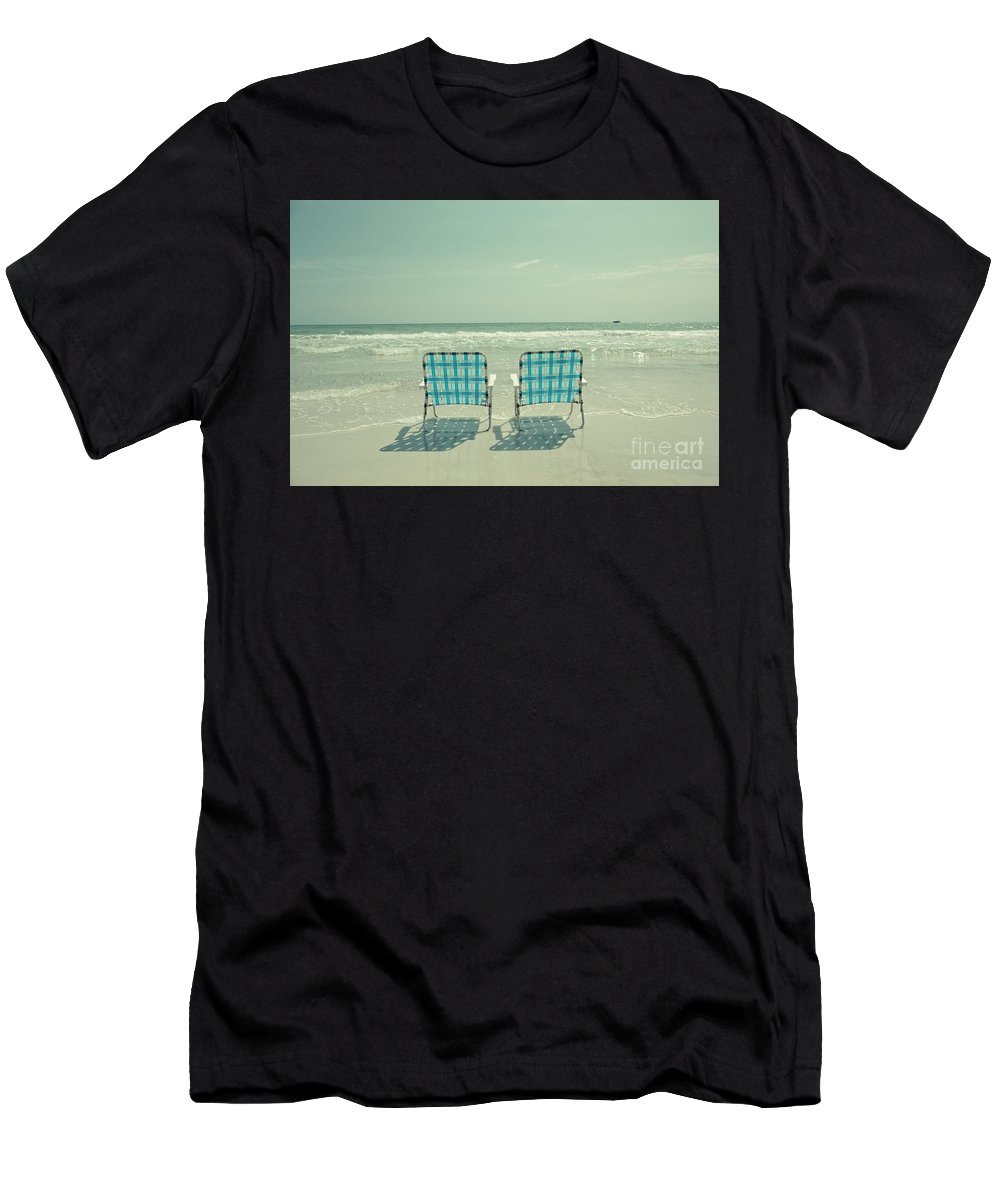 Chair Men's T-Shirt (Athletic Fit) featuring the photograph Empty Beach Chairs by Edward Fielding