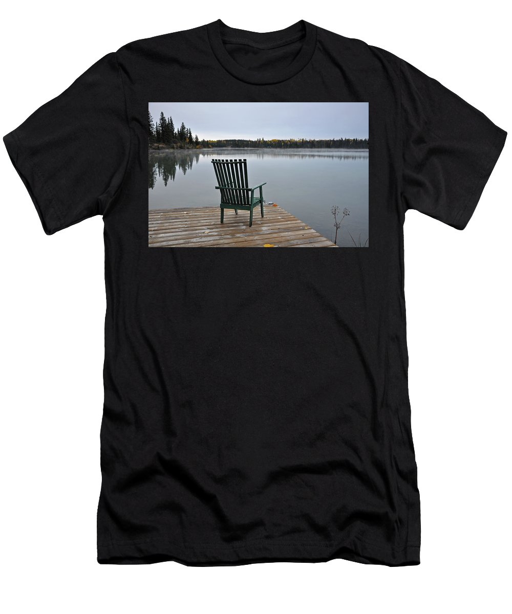 Autumn Men's T-Shirt (Athletic Fit) featuring the photograph Empty Chair On Autumn Morning by Perl Photography