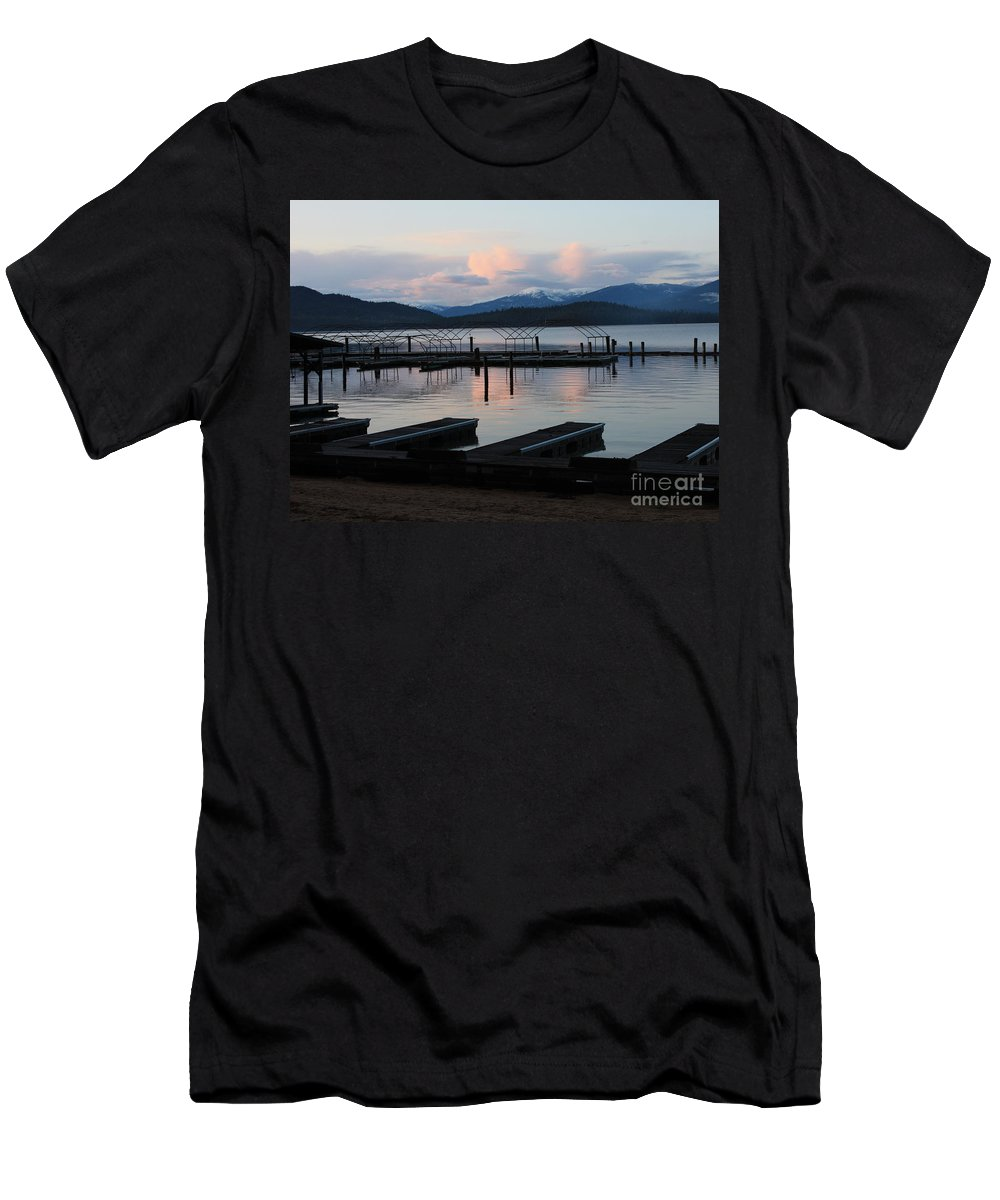 Priest Lake Men's T-Shirt (Athletic Fit) featuring the photograph Empty Docks On Priest Lake by Carol Groenen