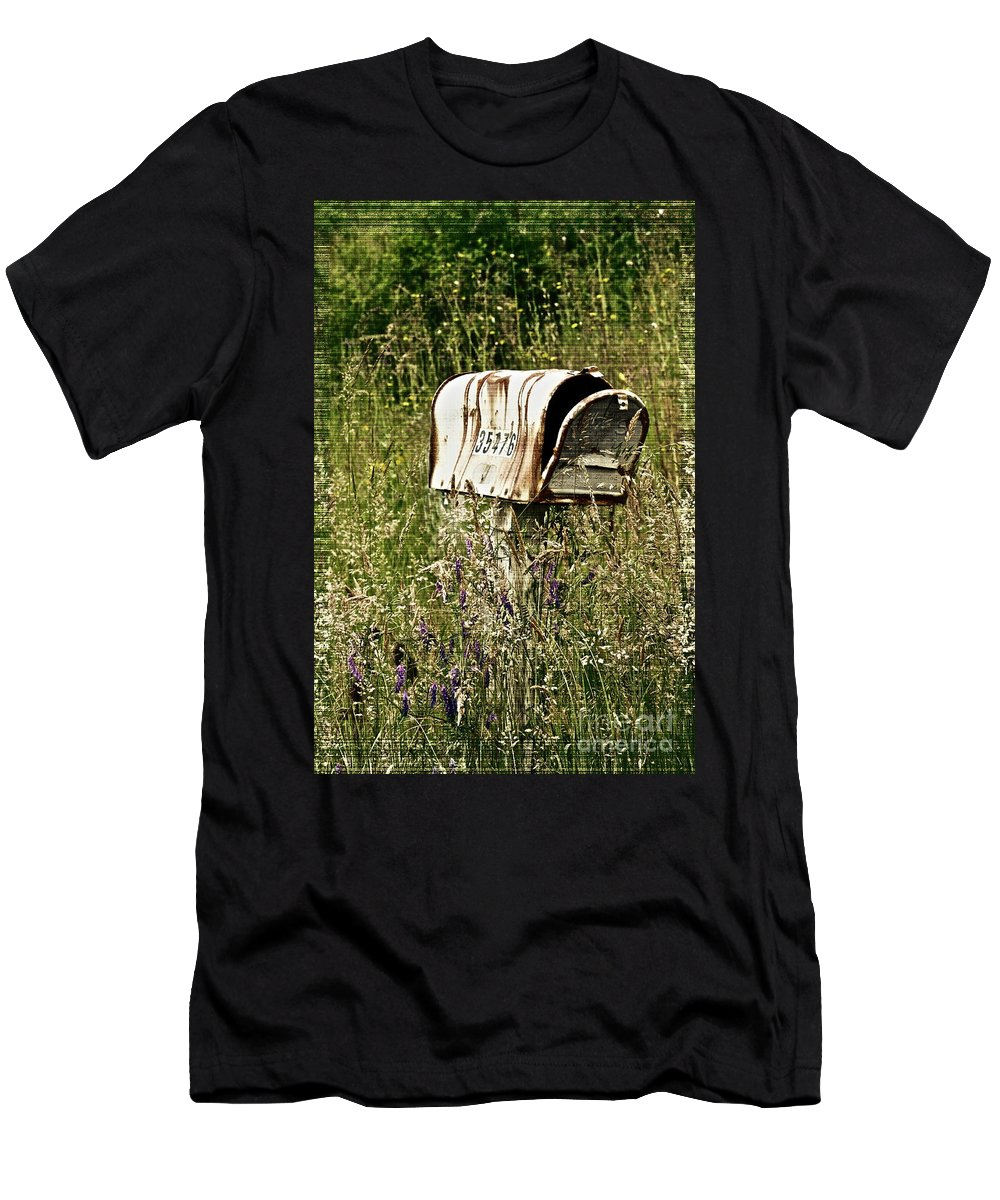 Mailbox Men's T-Shirt (Athletic Fit) featuring the photograph Empty Mailbox At 35476 by Gwyn Newcombe
