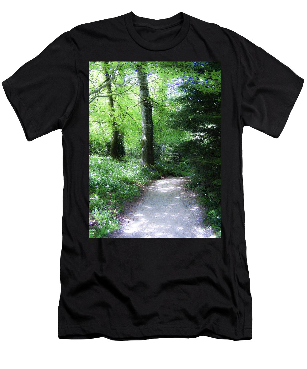 Ireland Men's T-Shirt (Athletic Fit) featuring the photograph Enchanted Forest At Blarney Castle Ireland by Teresa Mucha