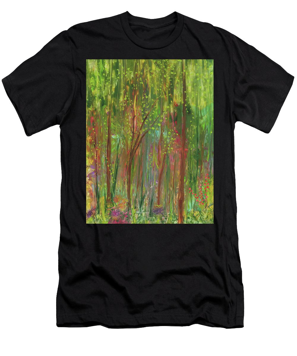 Enchanted Forest Men's T-Shirt (Athletic Fit) featuring the painting Enchanted Forest by Lisa Grogan