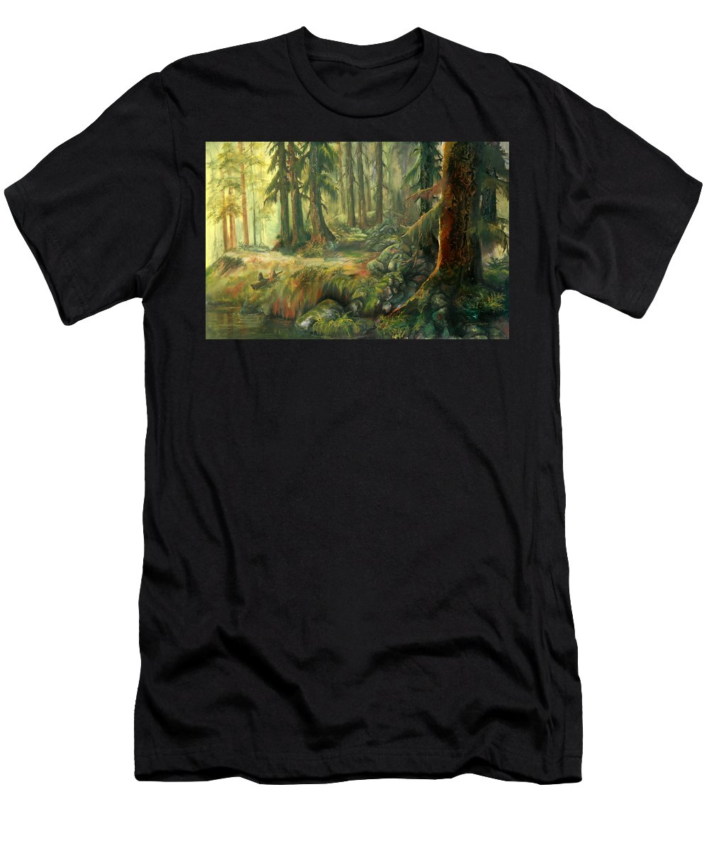 Trees Men's T-Shirt (Athletic Fit) featuring the painting Enchanted Rain Forest by Sherry Shipley