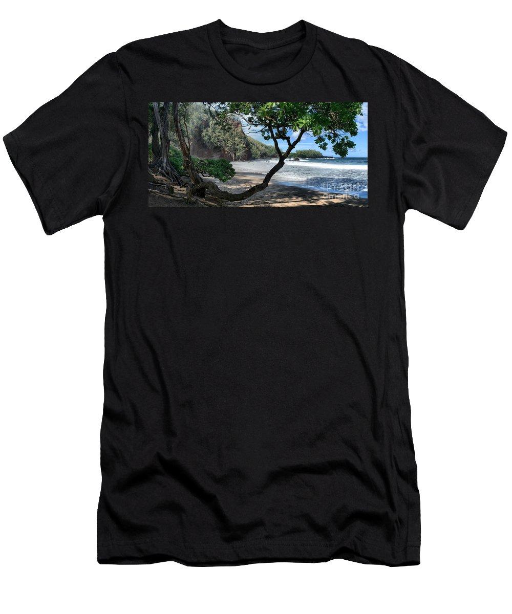 Aloha Men's T-Shirt (Athletic Fit) featuring the photograph Enchanted Rocks Koki Beach Haneoo Hana Maui Hawaii by Sharon Mau