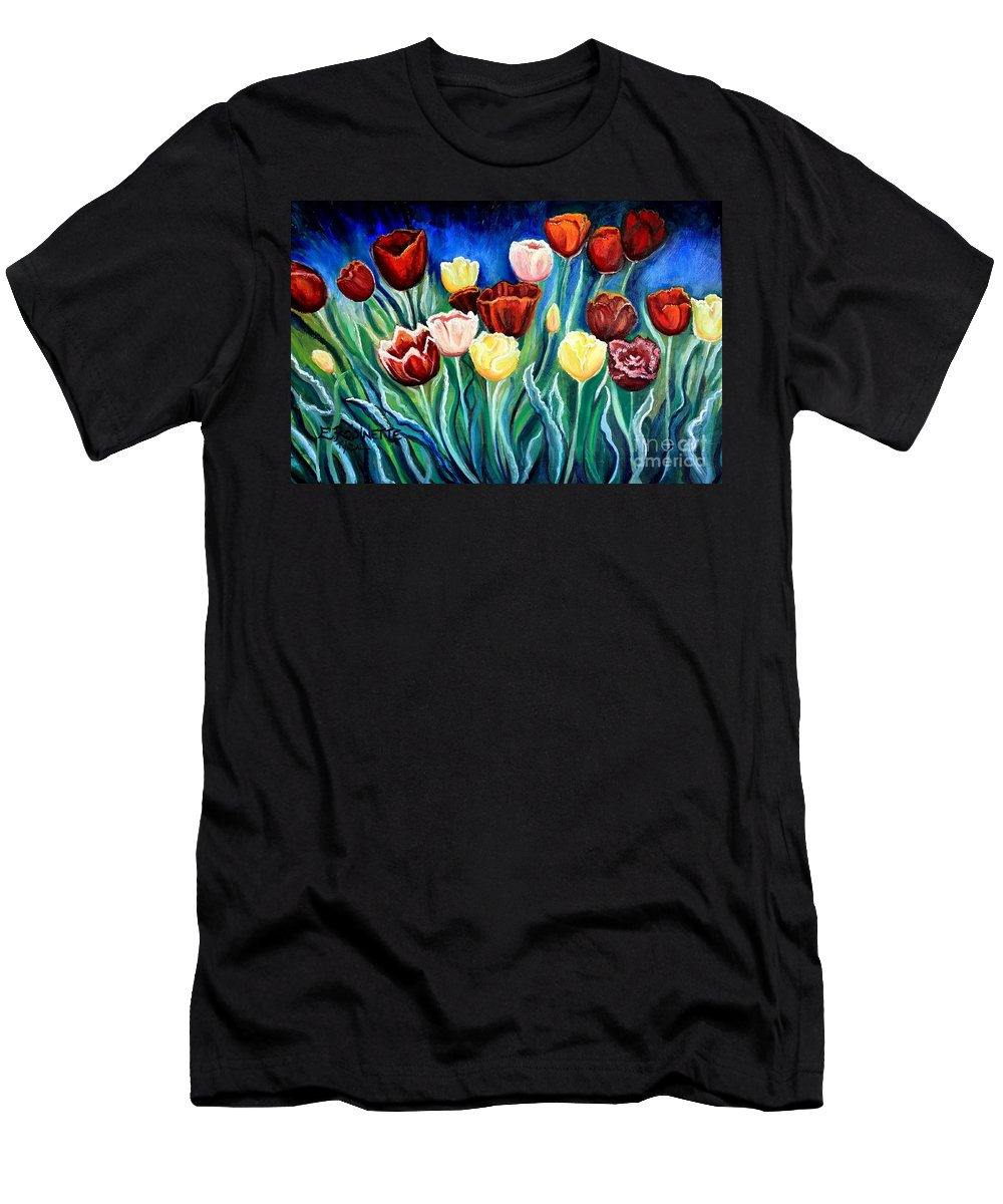 Tulips Men's T-Shirt (Athletic Fit) featuring the painting Enchanted Tulips by Elizabeth Robinette Tyndall