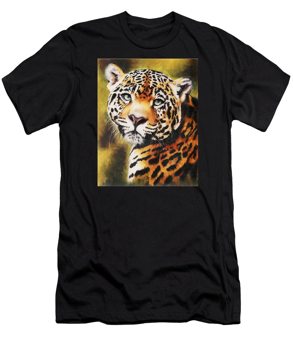 Jaguar Men's T-Shirt (Athletic Fit) featuring the pastel Enchantress by Barbara Keith