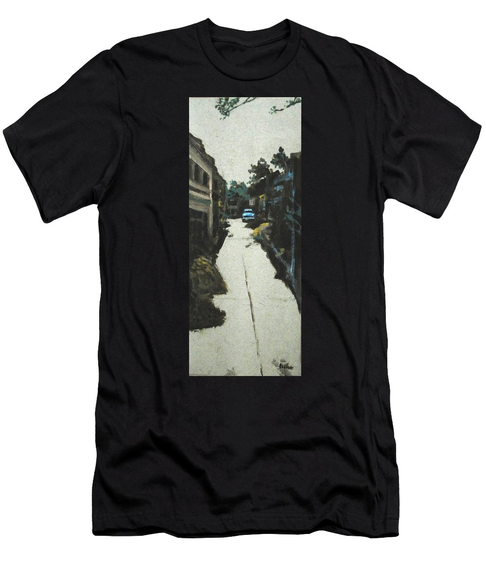 End Men's T-Shirt (Athletic Fit) featuring the painting End Of The Road by Usha Shantharam