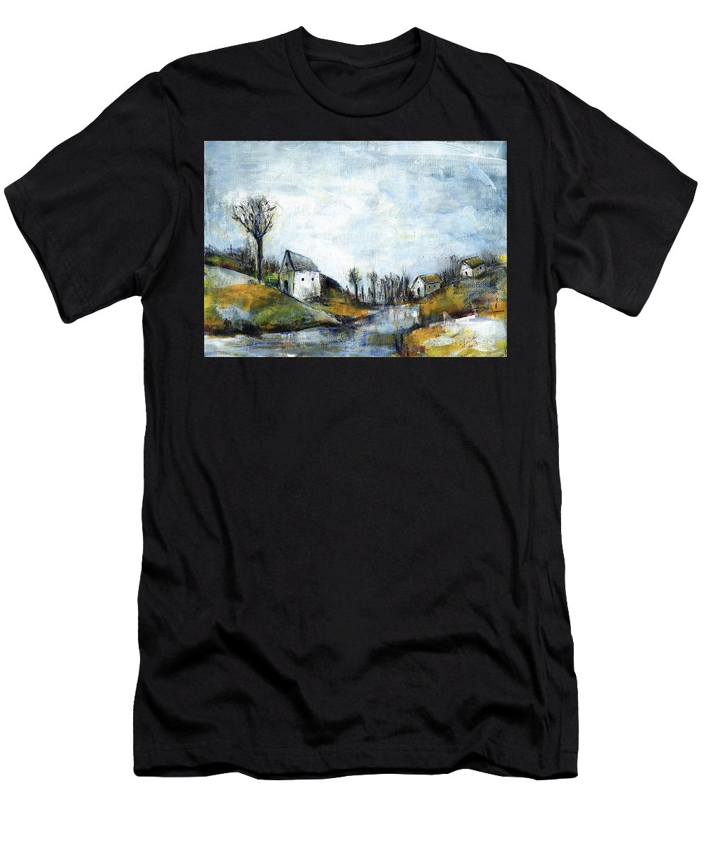 Landscape Men's T-Shirt (Athletic Fit) featuring the painting End Of Winter - Acrylic Landscape Painting On Cotton Canvas by Aniko Hencz