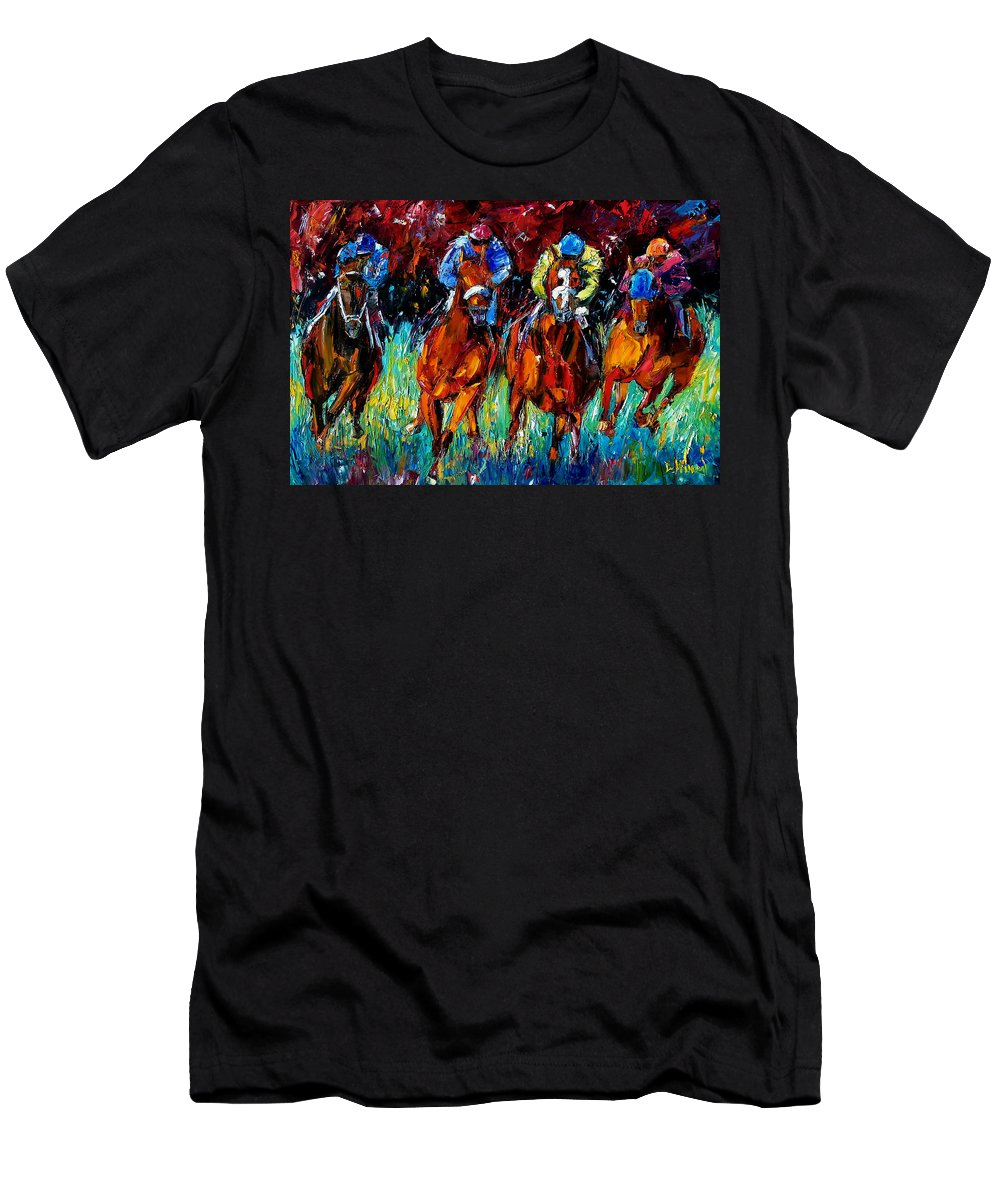 Horse Race T-Shirt featuring the painting Endurance by Debra Hurd