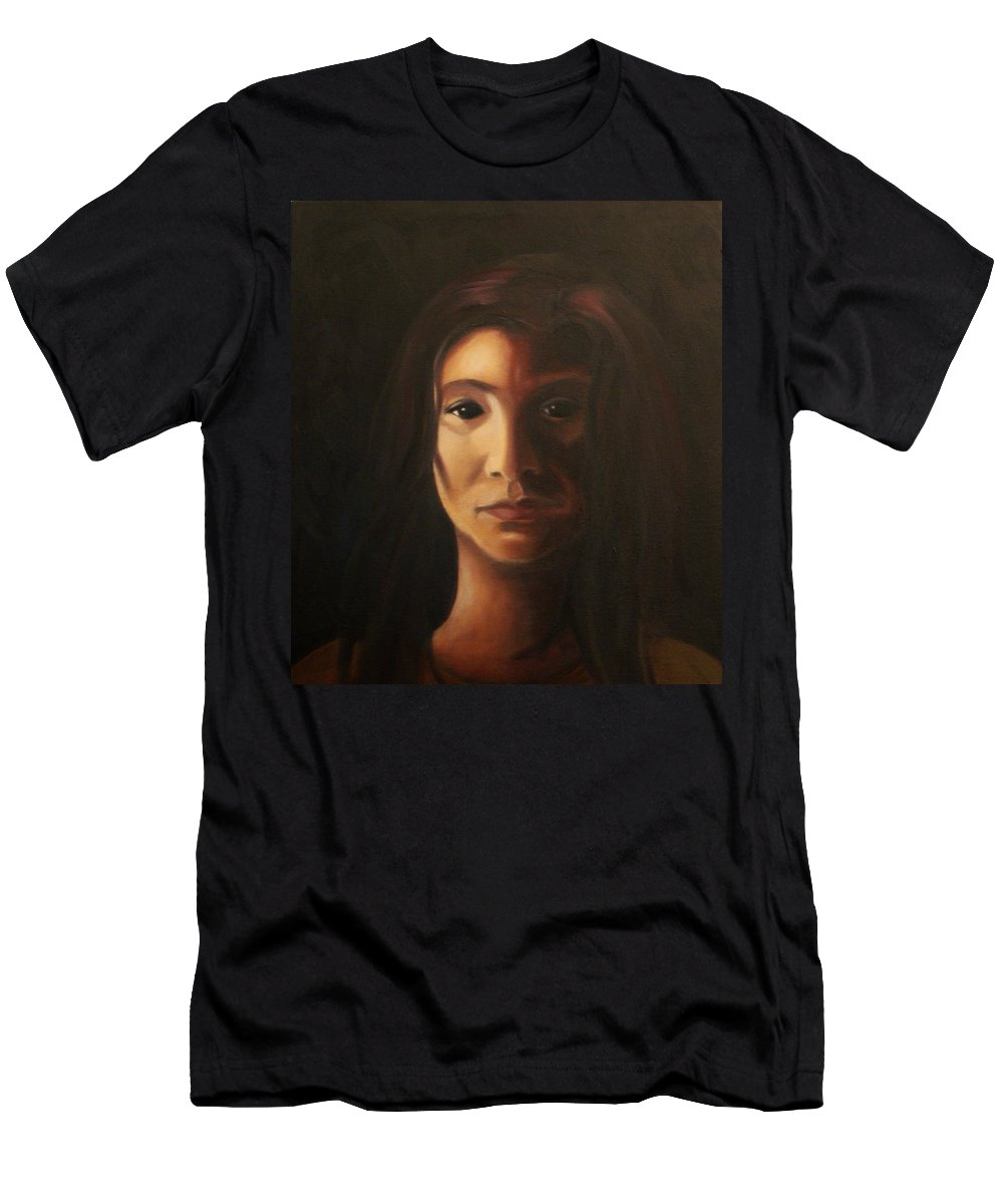 Woman In The Dark Men's T-Shirt (Athletic Fit) featuring the painting Endure by Toni Berry