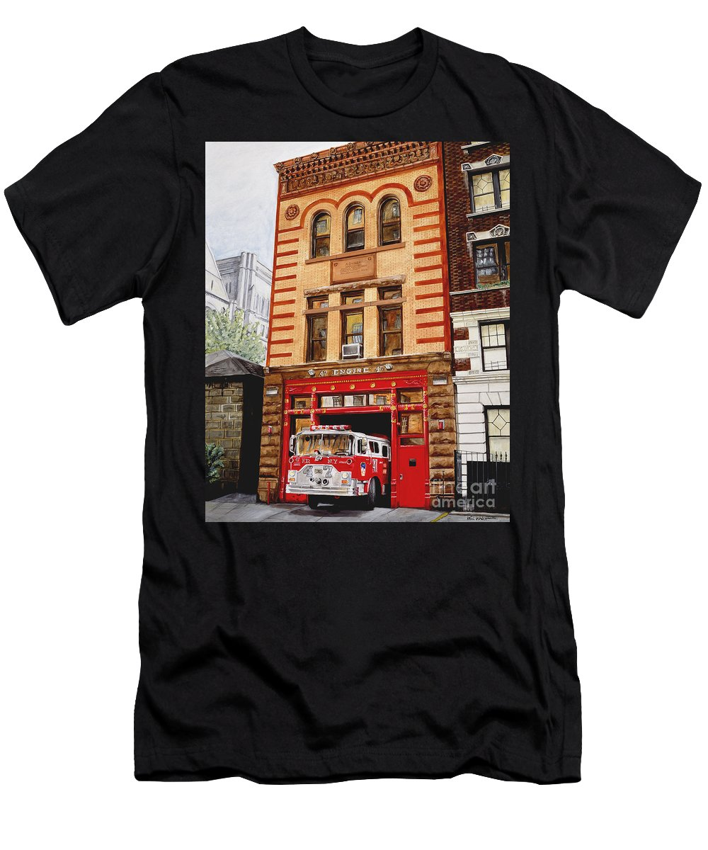 Firehouse Men's T-Shirt (Athletic Fit) featuring the painting Engine Company 47 by Paul Walsh