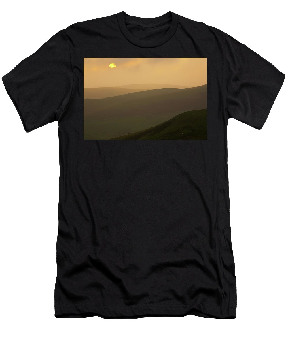 Northumberland Men's T-Shirt (Athletic Fit) featuring the photograph England, Northumberland, Northumberland National Park. Sunset Over The Rolling Cheviot Hills, Viewed by Jason Friend