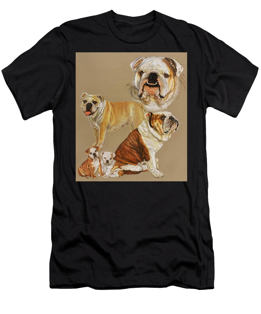 Purebred Men's T-Shirt (Athletic Fit) featuring the drawing English Bulldog by Barbara Keith