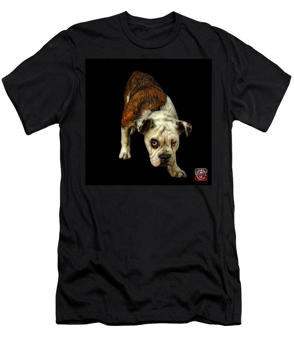 Bulldog Men's T-Shirt (Athletic Fit) featuring the painting English Bulldog Dog Art - 1368 - Bb by James Ahn