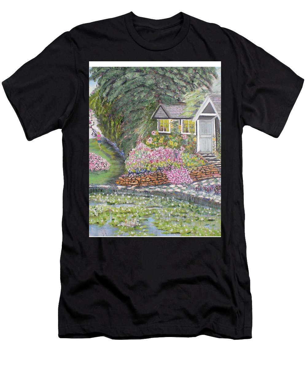 Cottage Men's T-Shirt (Athletic Fit) featuring the painting English Cottage by Hal Newhouser