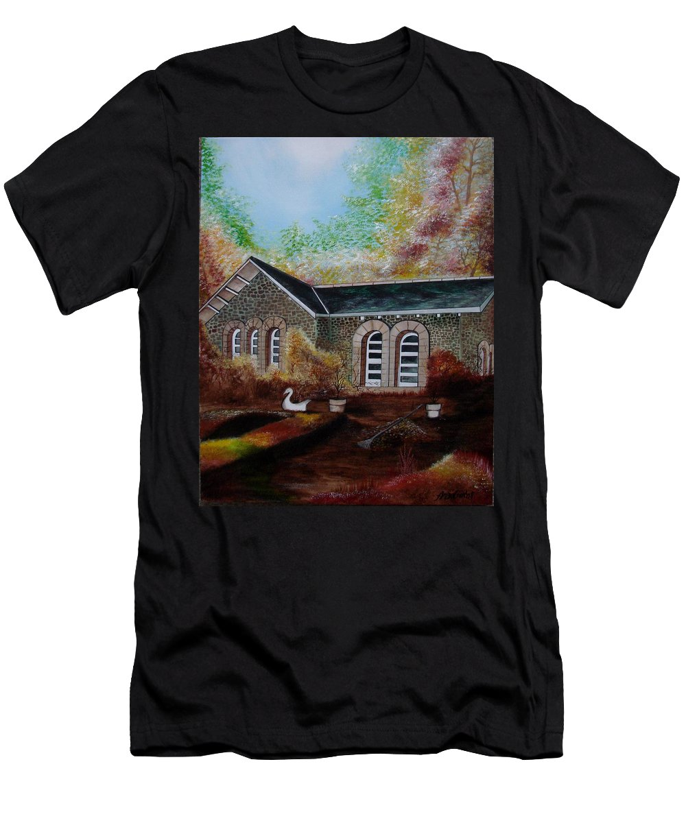 Autmn Men's T-Shirt (Athletic Fit) featuring the painting English Cottage In The Autumn by Glory Fraulein Wolfe