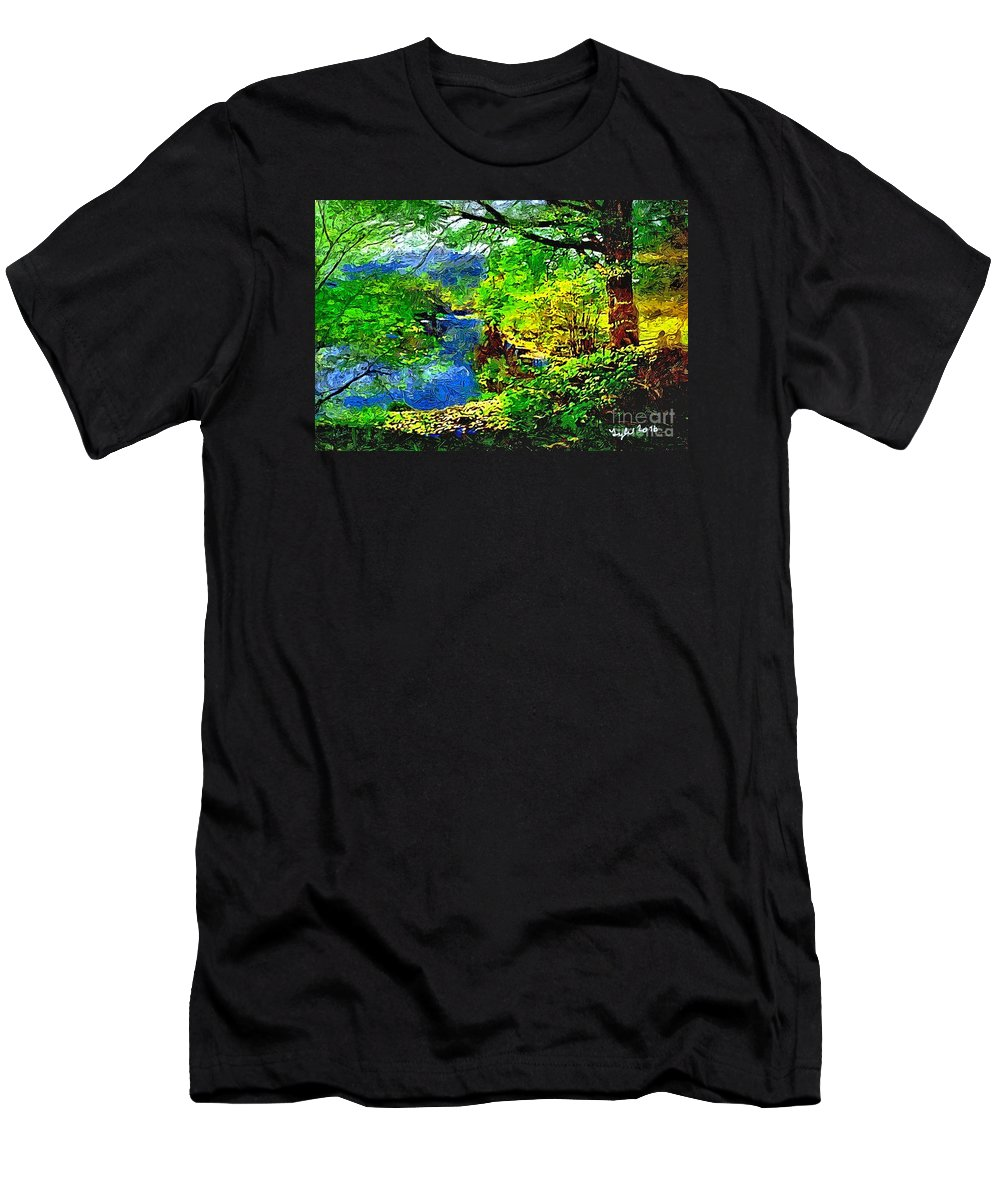 Country Men's T-Shirt (Athletic Fit) featuring the painting English Country Lake 1d by B W Tyler