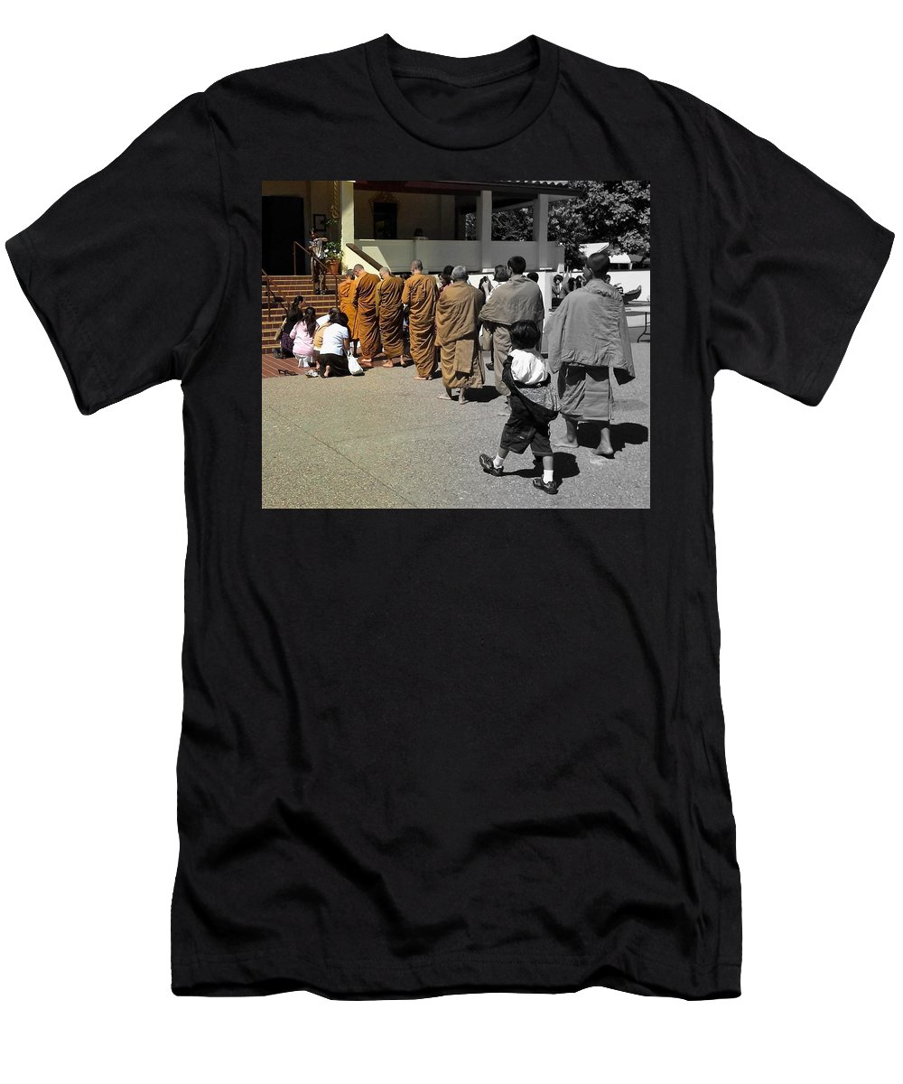 Monks Men's T-Shirt (Athletic Fit) featuring the photograph Enlighten by Michael Brown
