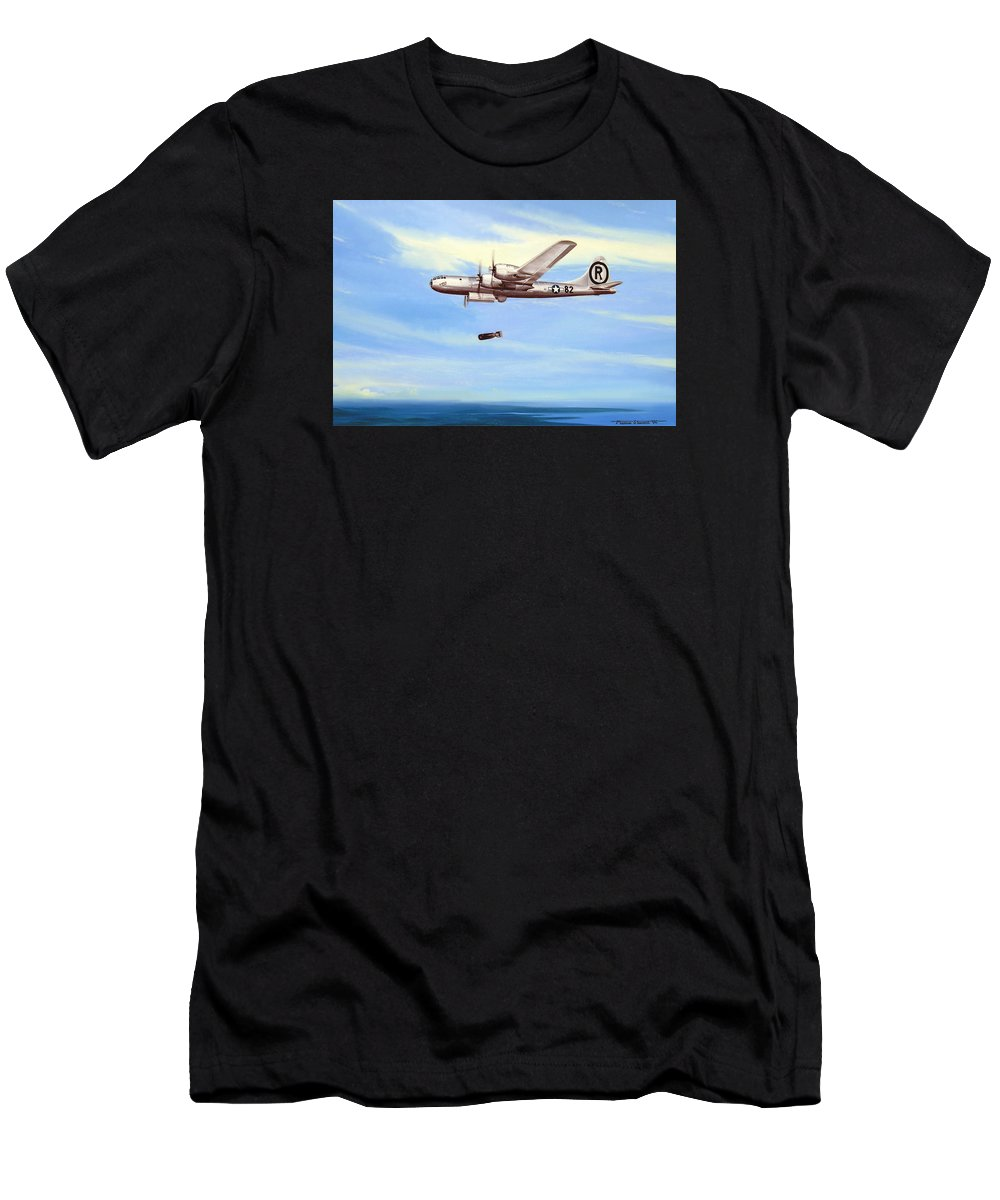 Military T-Shirt featuring the painting Enola Gay by Marc Stewart