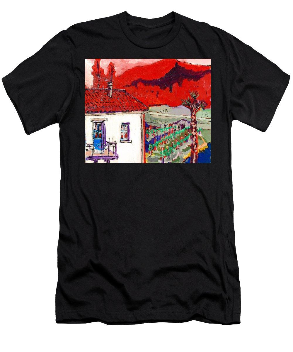 Men's T-Shirt (Athletic Fit) featuring the painting Enrico's View by Kurt Hausmann