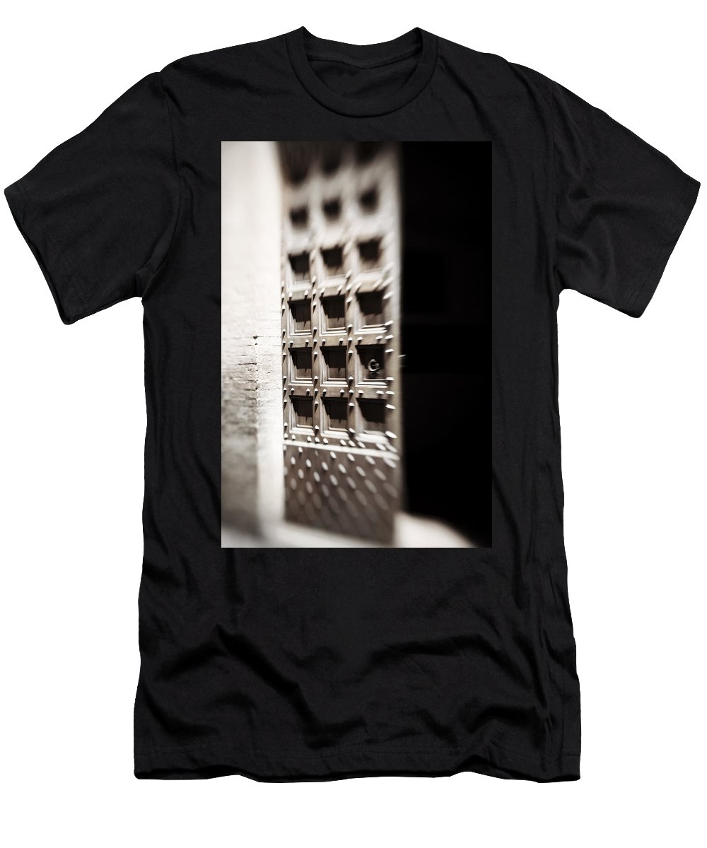 Door Men's T-Shirt (Athletic Fit) featuring the photograph Enter If You Dare by Marilyn Hunt