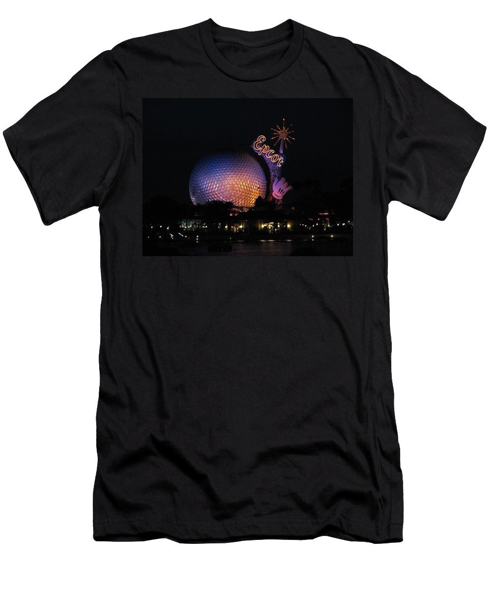 Epcot T-Shirt featuring the photograph Epcot at Night II by Creative Solutions RipdNTorn