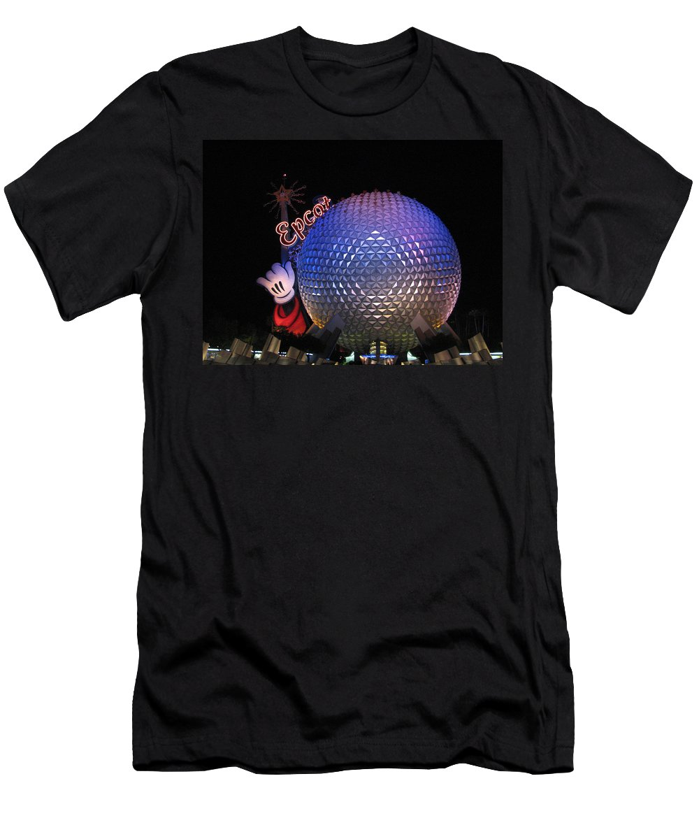 Epcot T-Shirt featuring the photograph Epcot at Night by Creative Solutions RipdNTorn