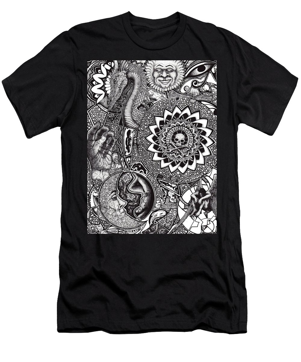 Black And White Men's T-Shirt (Athletic Fit) featuring the drawing Epiphany by Tobey Anderson