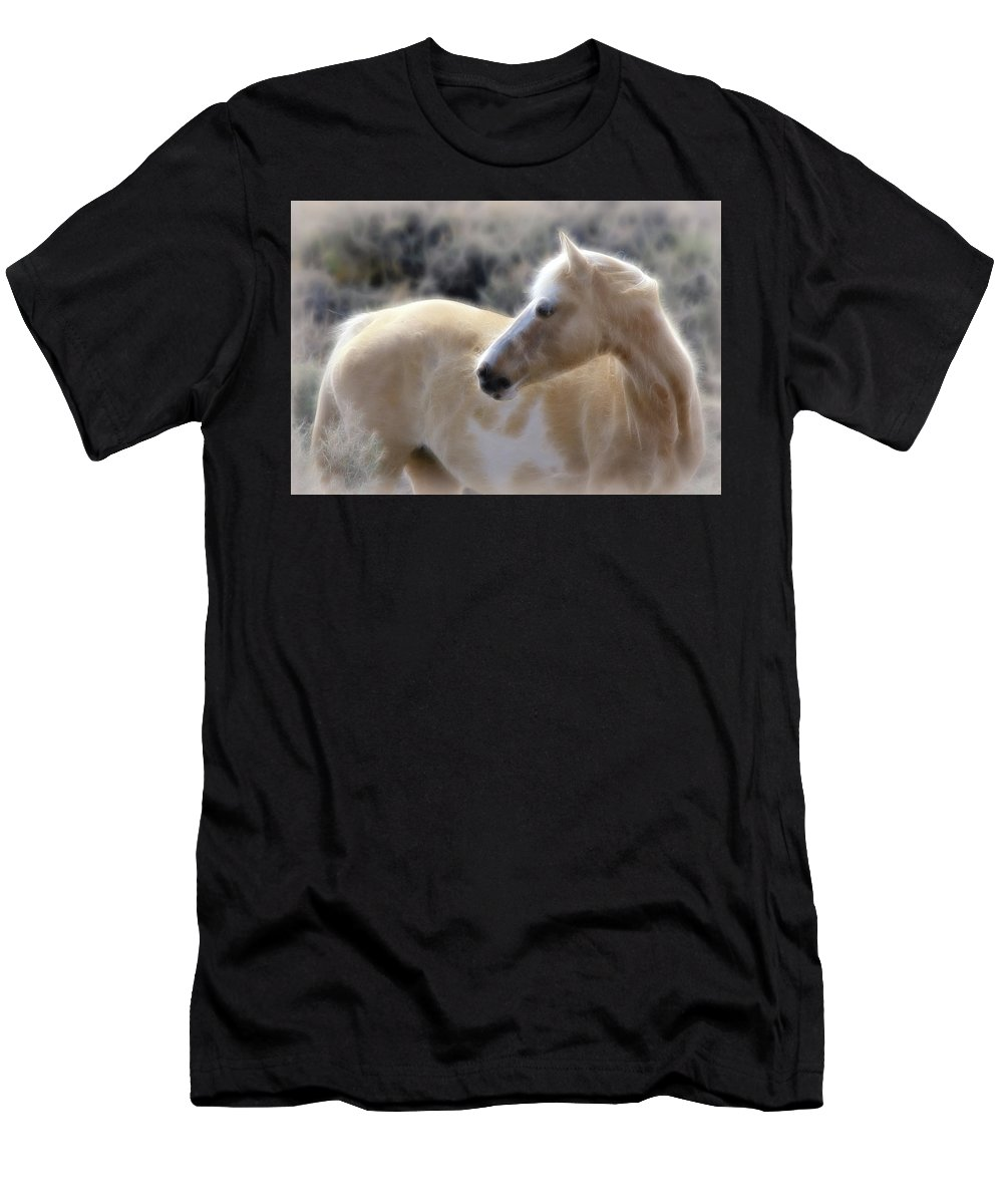 Horses Men's T-Shirt (Athletic Fit) featuring the photograph Equine Golden Glow by Athena Mckinzie