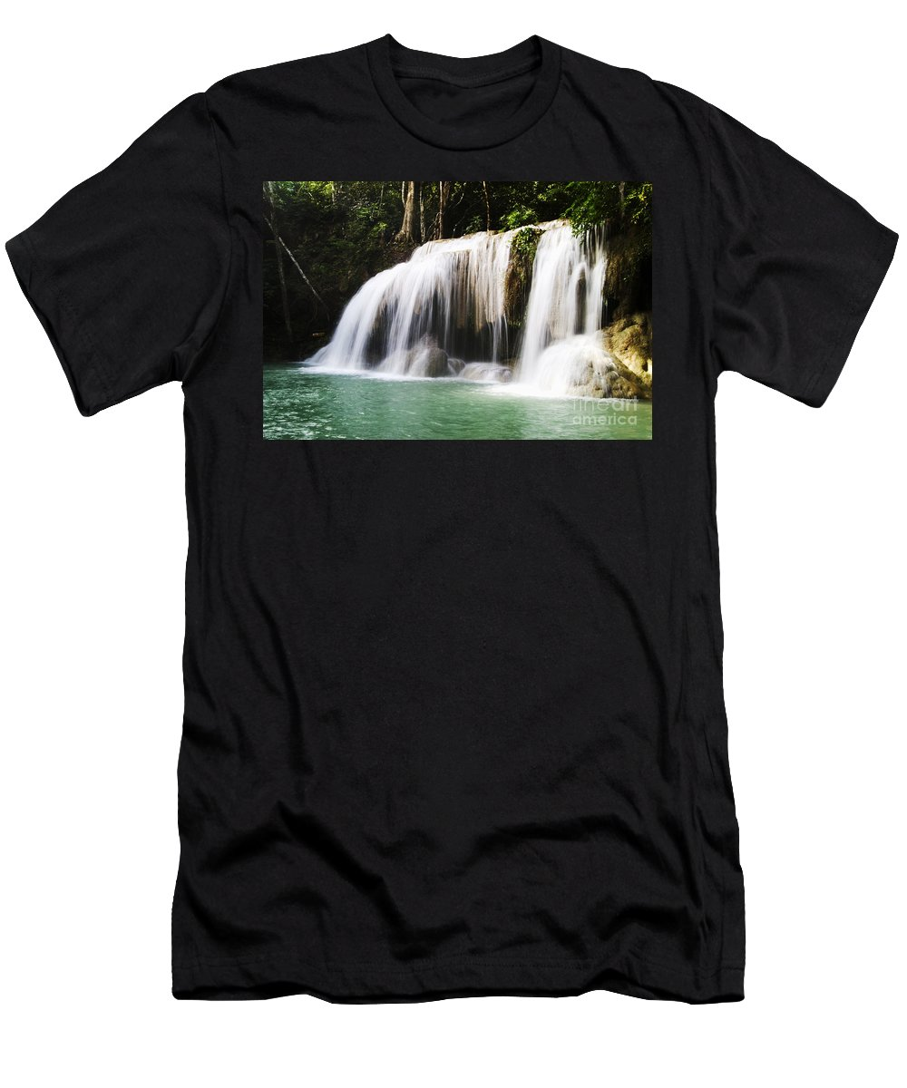 Bill Brennan Men's T-Shirt (Athletic Fit) featuring the photograph Erawan National Park by Bill Brennan - Printscapes