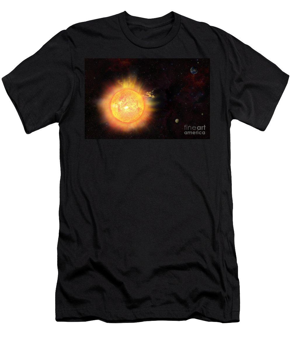 Sun Men's T-Shirt (Athletic Fit) featuring the digital art Eruption - Solar Storm by Michal Boubin