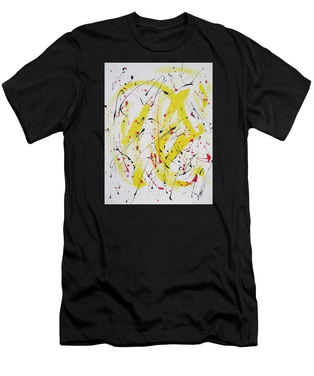 Eruption Men's T-Shirt (Athletic Fit) featuring the painting Eruption by Arlene Wright-Correll