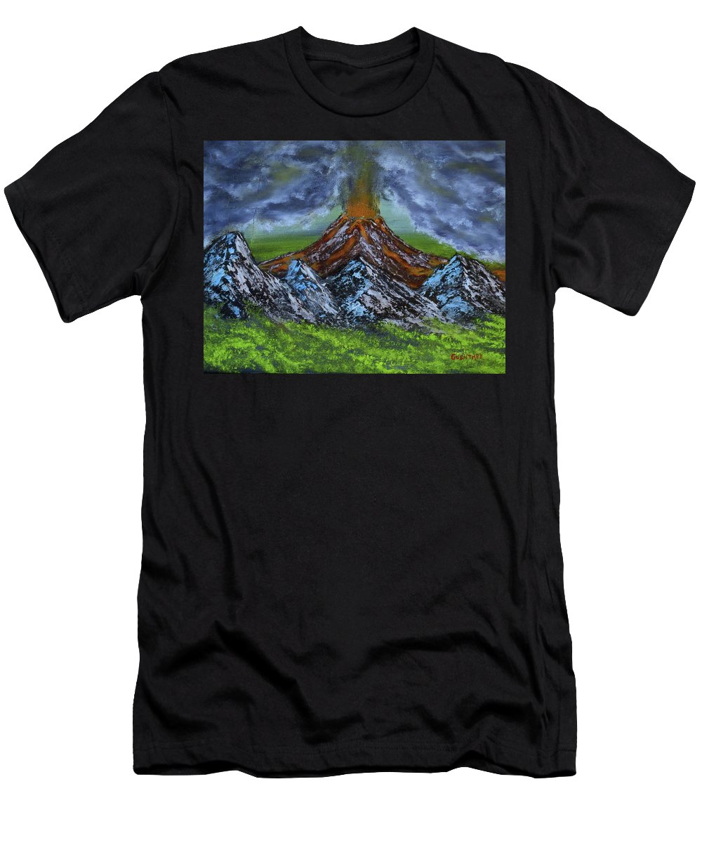 Landscape Men's T-Shirt (Athletic Fit) featuring the painting Eruption by Larry Guenther