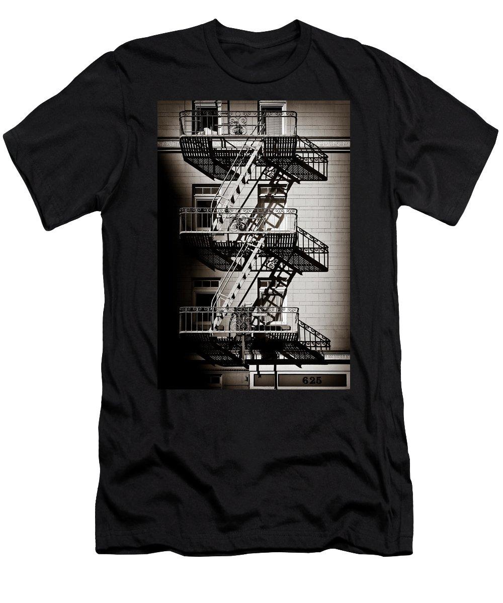 Fire Escape Men's T-Shirt (Athletic Fit) featuring the photograph Escape by Dave Bowman
