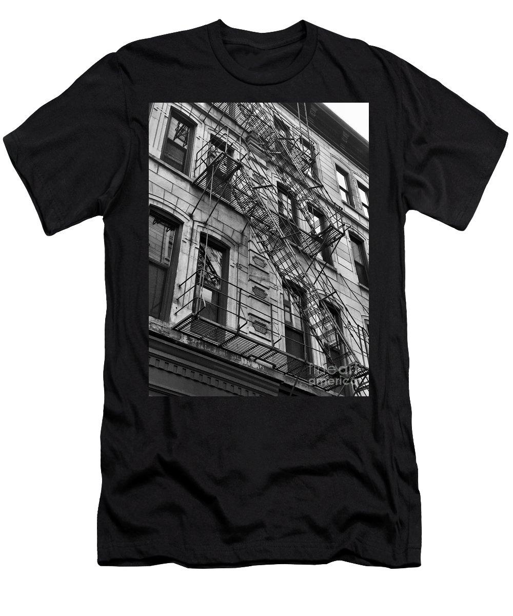 Escape Men's T-Shirt (Athletic Fit) featuring the photograph Escape Ladders by Rachel Gilman