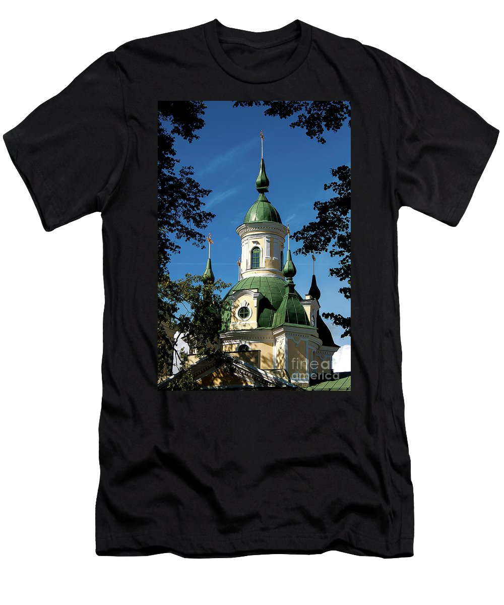 St. Catherine`s Church Men's T-Shirt (Athletic Fit) featuring the photograph Estonian Church Orthodox And Baroque by Christian Hallweger