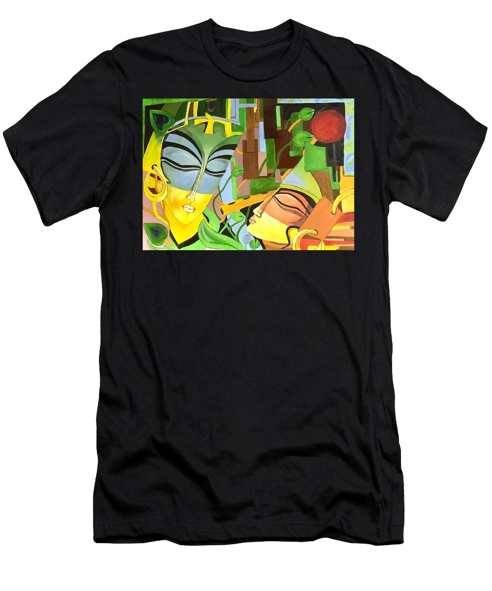 Spread The Love ....radha Krishna Eternal Love Will Enhance The Beauty Of Any Room. Men's T-Shirt (Athletic Fit) featuring the painting Eternal Love by Preeti Pad