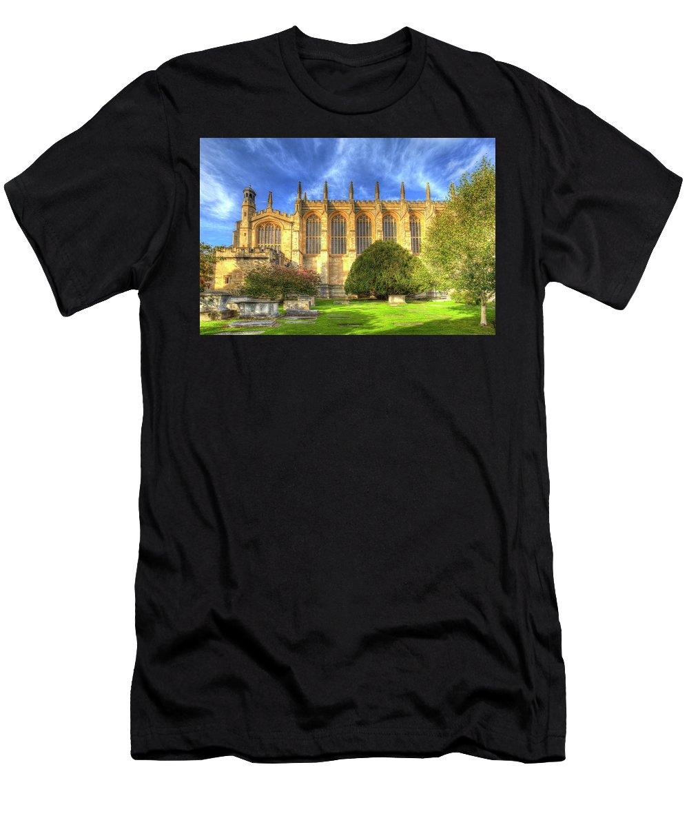 Eton Men's T-Shirt (Athletic Fit) featuring the photograph Eton College Chapel by David Pyatt