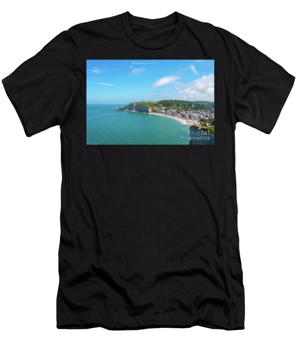 France Men's T-Shirt (Athletic Fit) featuring the photograph Etretat From Above, France by Sinisa CIGLENECKI